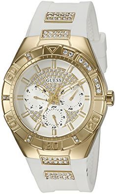 GUESS Womens U0653L3 Sporty GoldTone Stainless Steel Watch with Multifunction Dial and White Strap Buckle * Want additional info? Click on the image.