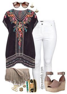 Plus Size Embroidered Tunic - Plus Size Spring Outfit - Plus Size Fashion for Women - alexawebb.com #alexawebb