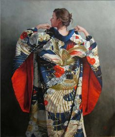 Blue Uchiake Kimono by Stephanie Rew was selected as a Finalist in the February 2012 RayMar Painting Competition. Japanese Kimono, Japanese Art, Japanese Style, Japanese Things, Japanese Painting, Japanese Culture, Japanese Fashion, Fashion Photo, Fashion Art