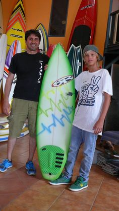 green fluor surfboard