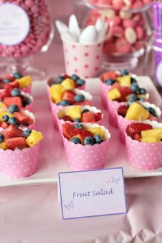 Really cute presentation - way to serve individual fruit salads!