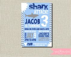 Hey, I found this really awesome Etsy listing at https://www.etsy.com/listing/398156883/shark-birthday-invitation-shark