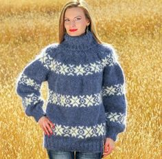 Ivory blue hand knitted mohair sweater Icelandic fuzzy turtleneck Nordic jumper #SuperTanya #TurtleneckMock