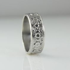 Flower Wedding Ring White Gold Wedding Ring for Women Flower image 3 White Gold Wedding Rings, Wedding Gold, Wedding Rings For Women, Wedding Jewelry, Wedding Bands, Flower Rings, Gold Flowers, Gold Bands, Flower Patterns