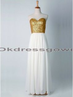 Sexy Elegant Affordable Sweet Heart Strapless Gold prom dress with Sequins