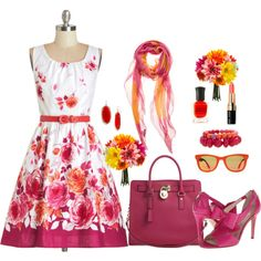 """""""Pink and Orange"""" by lmshull on Polyvore"""