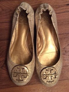 Find best value and selection for your Tory Burch Womens Gold Textured  Ballet Flats Size 7 1 2 Medium Great Condition search on eBay.