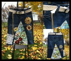 Hippie Harvest 2.0 Jean Skirt with handmade leather reversible belt Custom Order to Your Size 0 2 4 6 8 10 12 14 16 18 20 22 24 26