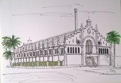 Patrimonio Industrial Arquitectónico: Mis dibujos industriales. Antiguo almacén de naran...