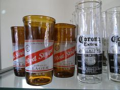 Make custom drinking glasses from old beer and wine bottles—glass cutting instructions included!