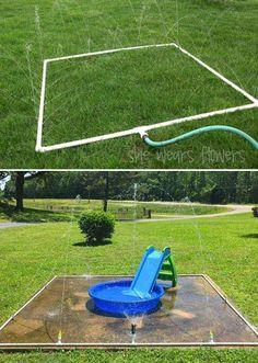 This easy and inexpensive splash pad from PVC pipes will let kids enjoy hours of water fun. This easy and inexpensive splash pad from PVC pipes will let kids enjoy hours of water fun. Kids Outdoor Play, Kids Play Area, Backyard For Kids, Backyard Games, Backyard Landscaping, Diy For Kids, Large Backyard, Garden Games, Backyard Splash Pad
