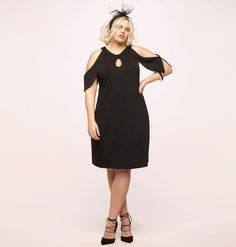 63a95c2c074e9 Get your curves on in this plus size Keyhole Cold Shoulder Dress available  in sizes 14
