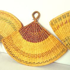 Vintage Wicker Trivets Set of 3 Wicker Fans Table by PatinaCulture, $15.00