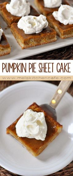 Pumpkin pie in sheet cake form. Delicious, delicious!