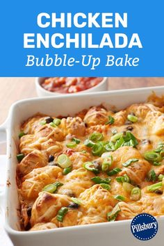 Enchiladas Discover Chicken Enchilada Bubble-Up Bake Prep this flavor-packed chicken enchilada bake in just fifteen minutes and youve got the easiest-ever weeknight meal. Mexican Dishes, Mexican Food Recipes, Dinner Recipes, Good Food, Yummy Food, Yummy Snacks, Cooking Recipes, Healthy Recipes, Chicken Enchiladas