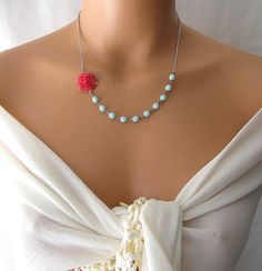 flower necklace, red rose necklace, flower jewelry, pale aqua jewelry necklace, statement necklace, silver necklace. $29.00, via Etsy.