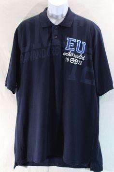Ecko Unltd Polo Shirt 2XL Navy Blue short sleeve 100% cotton Casual XXL Designer #EckoUnltd #PoloRugby