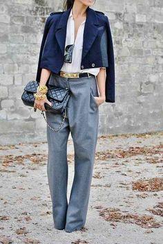 High waist trousers.