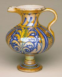 Ewer made in Deruta, Italy, Europe 1500- 1550, Italian 7 7/8 x 6 3/4 inches Tin-glazed and lustered earthenware (maiolica). Lustered earthenware was admired as an almost magical transformation of common clay. Functional pieces like this one reflect the designs of much more costly metal objects.