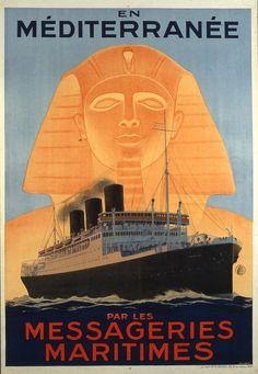 Les messageries maritimes Affiche Hook, Sandy 1930-1940 © L'Adresse Musée de La Poste / La Poste, DR