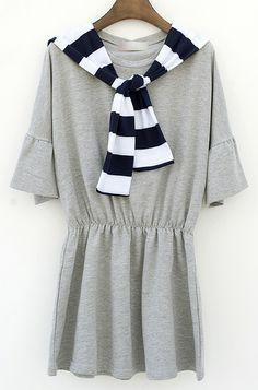 Grey Half Sleeve Striped Hat Pleated Dress - Fashion Clothing, Latest Street Fashion At Abaday.com
