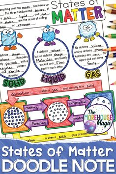 States of Matter Doodle Notes 4th Grade Science, Middle School Science, Elementary Science, Science Classroom, Science Education, Teaching Science, Science Activities, Science Experiments, Science Chemistry