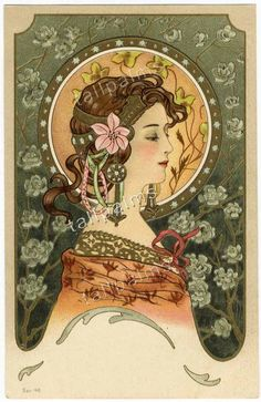 Beautiful ART NOUVEAU Woman Postcard 1904 - Embossed Hair - Flowers - Gold Inks