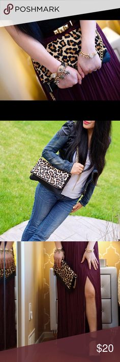 Leopard chain clutch Almost brand new! Only used for blog photos. Can be used as a shoulder bag or evening clutch. From no pet, no smoke family. It will be a great bag help you transfer from day to night. No any visible damage or stain at all. Express Bags Clutches & Wristlets