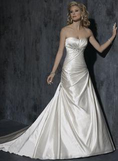 Fashionable Strapless Dropped waist Satin wedding dress