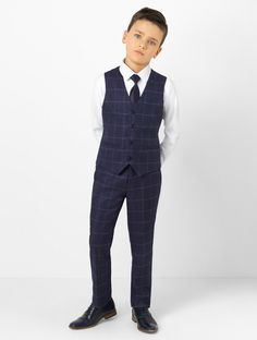 Shop boys navy check suit Conor at Roco. Boys navy check wedding suit with free UK delivery & 30 day returns. Boys Wedding Suits, Wedding Dress Men, Boys Dressing Style, Navy Check Suit, Kids Dress Wear, Boy Dress, Chambelanes, Blazer For Boys, Kids Fashion