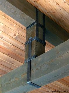 This is the forged steel king post beam straps that I designed for the Greene & Greene-inspired home in Lake Oswego, Oregon. We designed and fabricated numerous pieces for this home including multiple fireplace doors and screens, beam straps, beam caps, kitchen hood, various lights, sink...