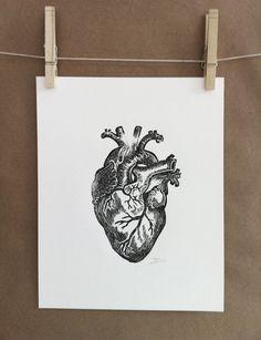 Anatomical heart original lino print by RustyAppleStudio on Etsy