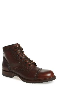 Free shipping and returns on Frye 'Logan Brogue' Cap Toe Boot (Men) at Nordstrom.com. Classic brogue detailing perfects an American-made lace-up boot sculpted from rich, durable leather for a look that's as versatile as it is handsome.