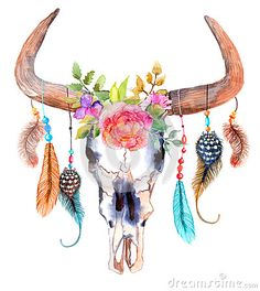 Watercolor bull skull with flowers and feathers