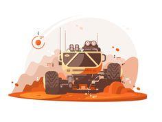 Mars Rover by Anton Fritsler (kit8) #Design Popular #Dribbble #shots Adobe Indesign, Flat Illustration, Graphic Design Illustration, Vector Illustrations, Mars Rover Images, Vector Robot, Affinity Designer, Vintage Typography, Vector Design