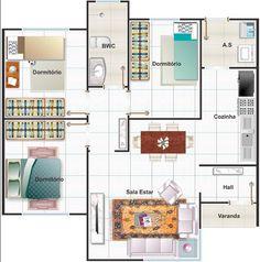 002 PLANO DE CASA RECIFE MEDITERRANEA 3 DORMITORIOS 68 m2  El plano de esta casa cuenta con 3 dormitorios, todos ellos comparten el cuarto de baño que es tan solo 1 para toda la casa, una amplia cocina con el apartado para la lavandería, una sala de estar en la parte frontal y un hall de recepción o acceso a la casa, verdaderamente bien ocupados los espacios y una excelente distribución.