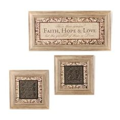 Faith, Hope, & Love Taupe Shadowbox, Set of 3 | Kirkland's