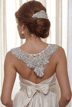{Bridal} Beaded applique collar. Anna Campbell –Belle Ivoire #bridal #weddings #beading