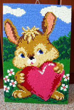 Häschen mit Herz Pearler Beads, Erdem, Bellisima, Pikachu, Beading, Cross Stitch, Embroidery, Patterns, Diy