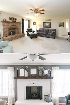 fireplace makeover /white fireplace /fireplace ideas / fireplace mantel decor / online interior designers