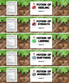 Print, cut out and stick to cups or bottles. Printable Minecraft Birthday Party Bottle Labels are the perfect addition to any Minecraft birthday party! Minecraft Food Labels, Minecraft Party Activities, Minecraft Party Food, Minecraft Crafts, Minecraft Birthday Party, Kids Party Games, Birthday Party Games, Free Minecraft Printables, Minecraft Templates