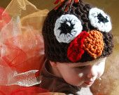 Light or Dark Brown Turkey Beanie with Big Eyes, Orange Beak, Red Snood, and Feathered Topper by KraftyShack on Etsy, $21.99 USD