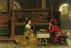Albrecht Frans Lieven Vriendt (1843-1900) His Move Oil on canvas  Public collection