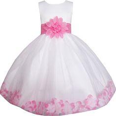 Sunny Fashion Robe Fille Blanc Rose Fleur Mariage Demoiselle d'honneur Vacances: Pleine fleur doublé avec 100% coton. Sécher lavage. Sur…
