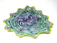 Love these colors : ) Hand Blown Glass Art Platter Bowl Wall Hanging 42 | eBay