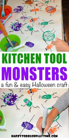Kitchen Tool Halloween Monster Craft - HAPPY TODDLER PLAYTIME Set up this super fun and easy Halloween craft for your toddler or preschooler! Make scary Halloween monsters using kitchen utensils! Diy Niños Manualidades, Manualidades Halloween, Easy Halloween Crafts, Scary Halloween, Halloween Kitchen, Monster Activities, Monster Crafts, Toddler Activities, Halloween Activities For Preschoolers