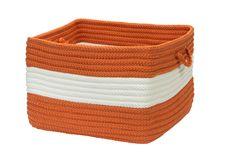 Rope Walk Indoor Outdoor Square Braided Basket, CB93 Rust