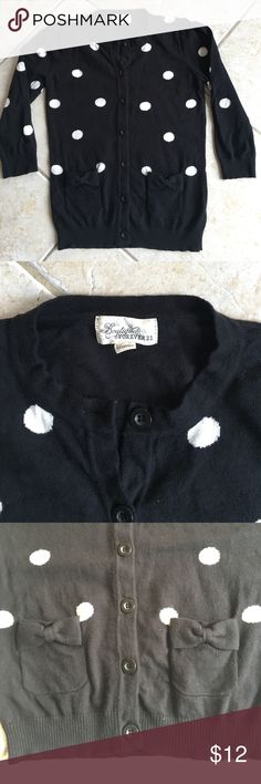 Black cardigan with white polka dots Forever 21 Boutique cardigan - black with white polka dots and cute pocket design. Forever 21 Sweaters Cardigans