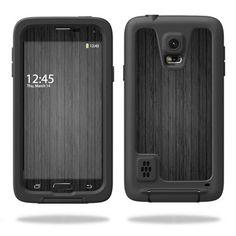 Skin Decal Sticker for LifeProof Samsung Galaxy S5 Case Case Black Wood #MightySkins