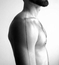 Mens Shoulder And Arm Black Line Tattoos